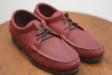 Quoddy Tukabuk Leather Crepe Sole Nubuck Moccasins Red Size 10 Hand Made In USA