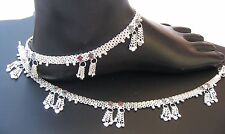 HANDMADE UNIQUE  925 STERLING SILVER  ANKLET PAIR INDIAN PAYAL 49.85  GRAM 10.5'