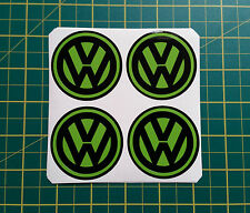 4 x 60mm ALLOY WHEEL STICKERS VW logo Lime Green on Black centre cap badge