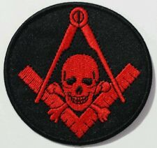 Freemason Masonic Black and Red with skull Iron on Patch (Item# P5)