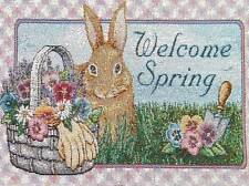 """""""Welcome Spring"""" Bunny Rabbit Tapestry  Fabric Panel Material Easter Gardening"""