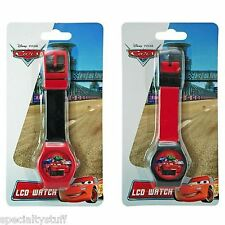 2 NEW DISNEY PIXAR CARS LCD WATCH CHILDRENS TIME PIECE LIGHTNING McQUEEN (MH)