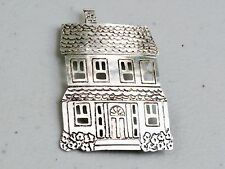 """Sterling Silver 1 7/8"""" Cozy Two Story House Home Brooch Pin"""