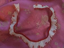 """Vintage Red 40s 50s Ruffle Salvage Dolls Millinery Dolls 15"""" Curved"""