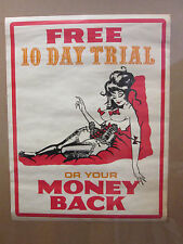 Vintage Free 10 Day Trial original Money Back Guarantee hot girl poster 9807