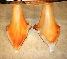 SIGNED PAIR OF HAND MADE MOUT BLOWN GLASS TULIP SHADES BROWN