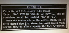 KAWASAKI  Z1B 900 Z900 KZ900 OIL CAUTION WARNING DECAL FOR REAR TAIL SECTION