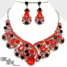 HIGH END RED AURORA BOREALIS CHUNKY CRYSTAL WEDDING FORMAL JEWELRY SET