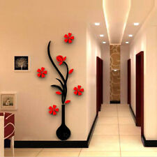1 Set 3D Vase Flower Tree Black&Red Crystal Arcylic Wall Stickers Decal Decors