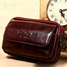 Men Genuine Leather Cell Phone Case Cover Belt Hip Purse Fanny Pack Waist Bag