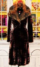 Betsey Johnson VINTAGE Coat VELVET Floral ROSE Black OPERA Jacket FUR Long 4 S