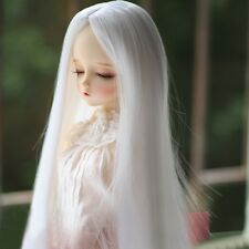 "BJD Doll Wig Hair 8-9"" 1/3 SD DZ DOD Long Straight Hair Part Bang White Toy Wig"