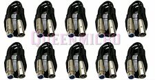 10 Lot x 6FT XLR 3Pin Male Female Microphone Audio Mic  Shielded Cable 6 Ft Foot