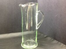 Green Depression Glass Hand Blown PITCHER w/Ice Spout & App. Handle