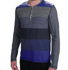 Calvin Klein - XL - Blue & Gray Color Block Striped L/S Base Layer Henley Shirt