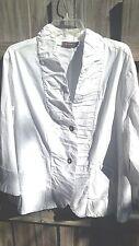 "XCVI Women's White 3/4"" Sleeve Victorian Blouse Ruffle Front Plus Size 3X EUC!"