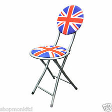 Folding Union Jack Chair Portable Fold Away Metal Camping Stool Garden Picnic