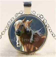 Mother and Baby Horse Cabochon Glass Tibet Silver Chain Pendant Necklace