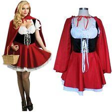 Damen Rotkäppchen Kleid Halloween Karneval Kostüm Märchen Mantel Outfit Cosplay