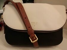 Fossil Ladies Leather Gwen Small Flap Crossbody Bag, Black/White SHB1333005 $168