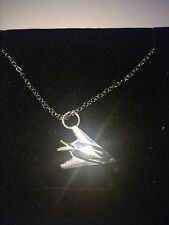 Lockheed F-117 Nighthawk C62 Stealth Emblem Silver Platinum Plated Necklace 18""