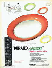 PUBLICITE ADVERTISING 026  1956  Duralex Saint-Gobain  assiettes couleurs