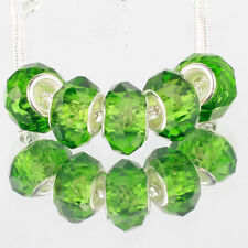 Crystal green 5pcs MURANO glass bead LAMPWORK fit European Charm Bracelet