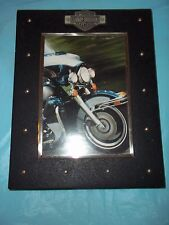 "Harley Davidson, Hallmark Picture Frame With Bar & Shield Logo Holds 5"" X 7"" Pic"