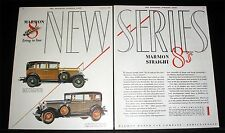 1928 OLD MAGAZINE PRINT AD, MARMON MOTOR CARS, STRAIGHT 8's FIRING IN LINE, ART!