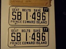 PAIR 1977 Prince Edward Island School Bus License Plates SB 1 496 PEI CANADA