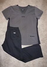 GREY'S ANATOMY scrub SET: TOP sz L & PANTS MP M Petite 4232 4232P Black/Gray K6