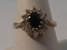 91H Ladies 9ct gold Sapphire and Zirconia cluster design ring