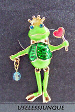 GOLD PLATED  FROG PRINCE WITH DANGLING LEGS PIN BROOCH