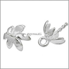 10 Rhodium Plated Sterling Silver Flower Pendant Bail Clasp with Cup Pin #97334