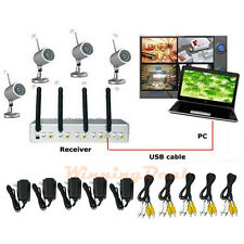 4 CH Wireless IR Night Vision Outdoor Waterproof Security Camera DVR Rece System