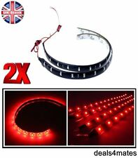 2x 30 cm 3528 SMD LED Rosso Impermeabile FLEXIBLE Strip Light Lampade per IN/sotto auto