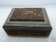 Superb Unusual 19th Century Inlaid Mosaic Hand CARVED Indian Box No Reserve