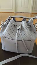 NWT Michael Kors Greenwich MD Perforated Bucket Leather Bag ~Dove/Lilac $328