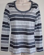 Ladies Route 66 Gray Stripe Light Weight TEE Scoop-Neck Casual Henley Shirt sz L