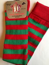 NEW KIDS TEENAGE ADULT RED & GREEN STRIPE  LONG OVER KNEE SOCKS 4-6.5 ELF