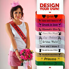 PERSONALISED HEN PARTY SASHES NIGHT DO SASH CHEAP ACCESSORIES BRIDE TO BE