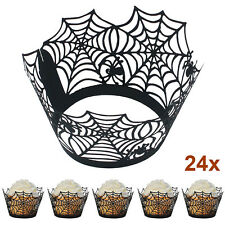 24pcs Black Spiderweb Laser Cut Cupcake Wrappers Liners Halloween Cake Decor