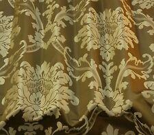 "Platinum/Stone Damask Jacquard 100% Silk Fabric 54"" Wide, By The Yard (JD-44150)"