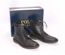Polo Mathew by Ralph Lauren Black Leather Lace-Up Boots Sz 12 Made in Spain