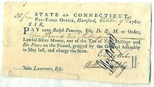 State of Connecticut Revolutionary War Pay Table Military Soldier Document