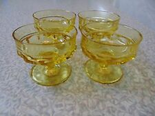 "❤ 4 Indiana Glass Kings Crown Yellow Sherbets Box ""H"""