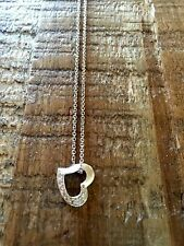 "14K White Gold 20"" Necklace With White Gold Heart Pendant With Diamond Pavé"