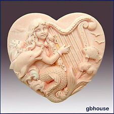 Hattie, Mermaid of the Harp - Detail of high relief sculpture-Soap silicone mold