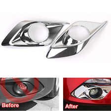 2x For 2014 Mazda 3 AXELA M3 Front Fog Light Lamp Bumper Bezel Cover Trim Chrome