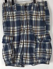 mens abercrombie cargo shorts 30x10 drawstring button fly plaid cotton